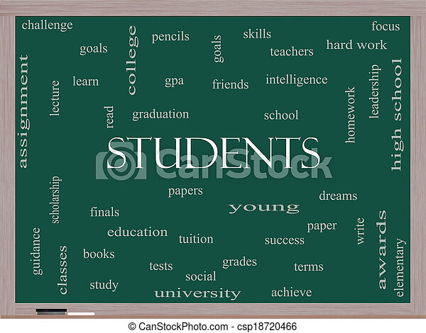 Students Word Cloud Concept on a Blackboard - csp18720466