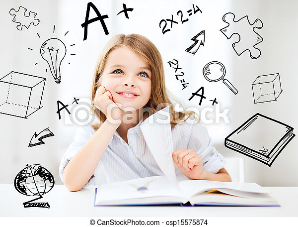 studera, liten flicka, elev - csp15575874