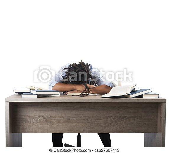 studera, man, trött - csp27607413