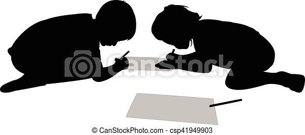 studerend , silhouette, kinderen - csp41949903