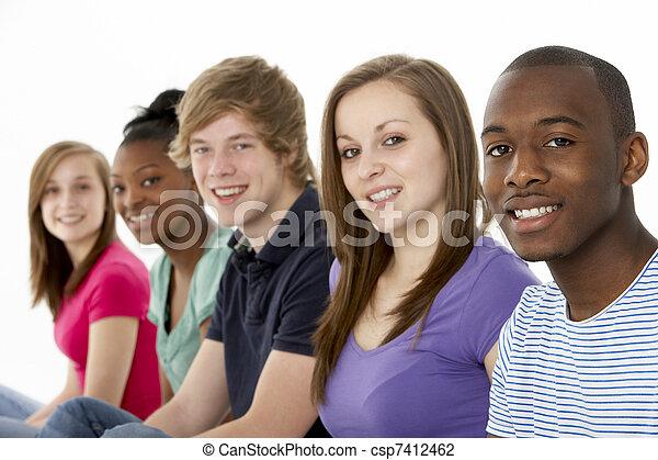 studio, adolescent, amis, groupe - csp7412462