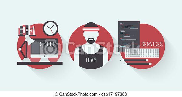 Studio design services flat icons - csp17197388
