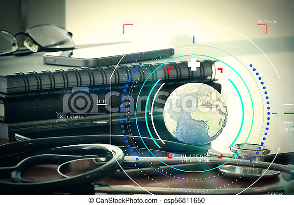 Studio macro of a stethoscope and texture globe with digital tablet with shallow DOF evenly matched abstract as medical network concept - csp56811650