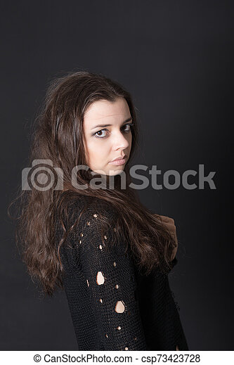 studio portrait of a girl - csp73423728