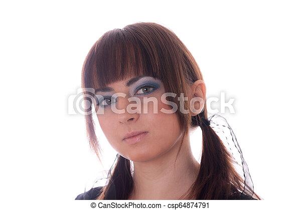 studio portrait of a girl - csp64874791