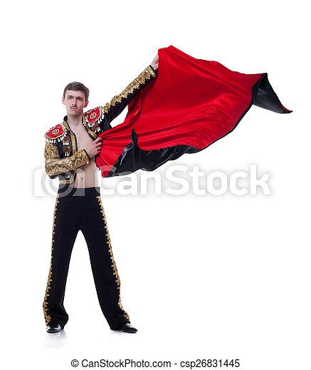 Studio shot of man dressed as bullfighter - csp26831445
