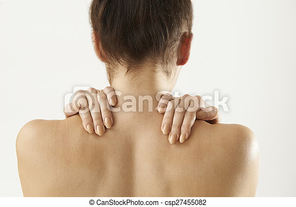 Studio Shot Of Woman With Painful Neck - csp27455082