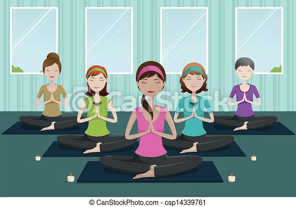 studio, yoga, persone - csp14339761