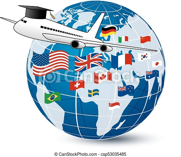 Study abroad concept design of airplane and world ...