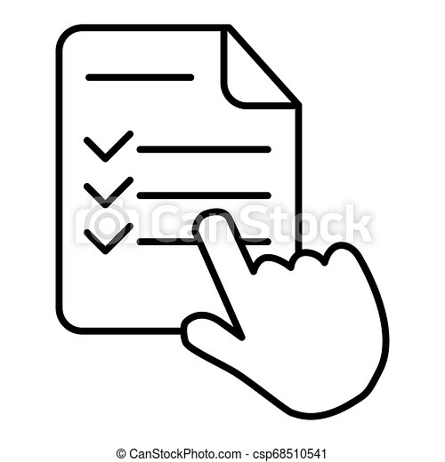 Study program thin line icon, e learning and education, finger on list sign vector graphics, eps 10. - csp68510541