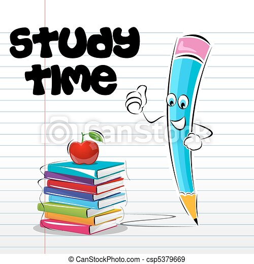 illustration of study time card with apple book and pencil eps rh canstockphoto com no homework pass clipart no homework clipart