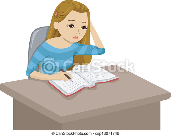 studying girl illustration of a girl reading a book while eps rh canstockphoto com Person Studying Clip Art College Student Studying Clip Art