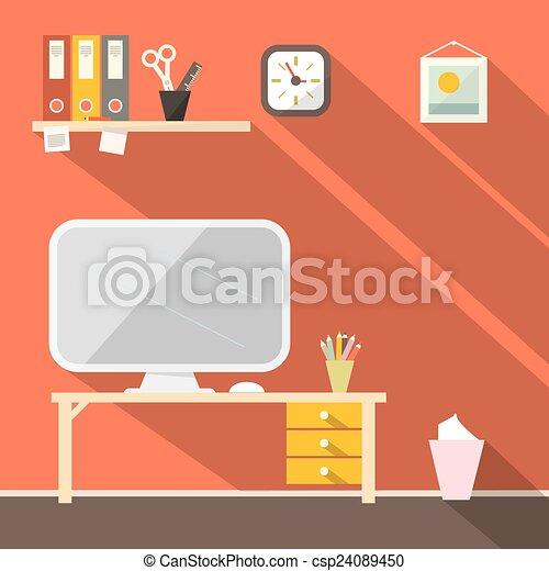 Studying Room - Office Vector Illustration - csp24089450
