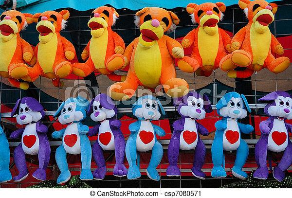 Stuffed Animals At Th Fair Waiting To Be Won