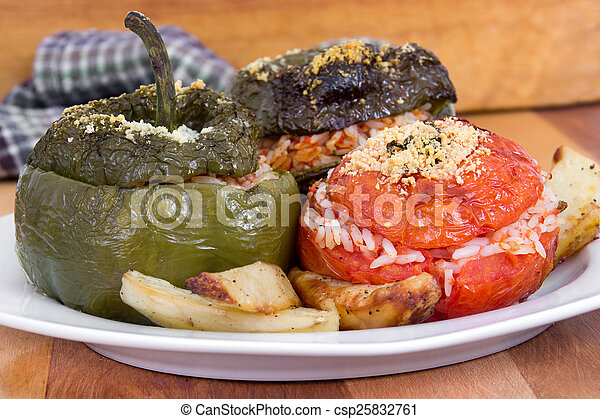 Stuffed bell pepper and tomato - csp25832761