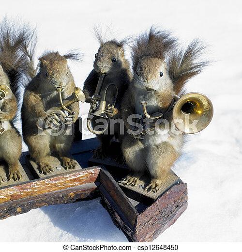 stuffed squirrels band - csp12648450