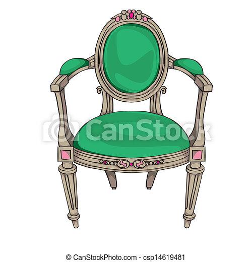 Stuhl Klassisch Antikes Polsterung Gefärbt Gekritzel