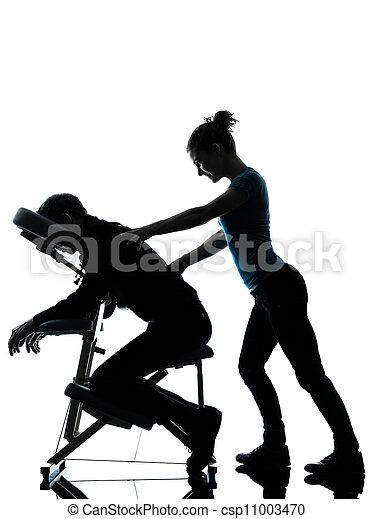 stuhl, therapie, rückenmassage - csp11003470