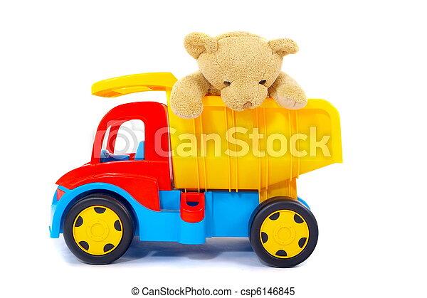 stuk speelgoed vrachtwagen, beer - csp6146845