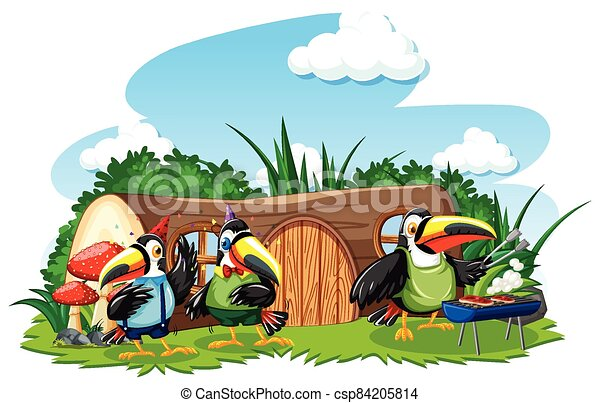 Stump house with three cute bird cartoon style on white background - csp84205814