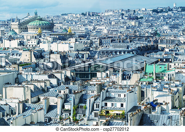 Stunning aerial view of Paris on a summer day - csp27702012