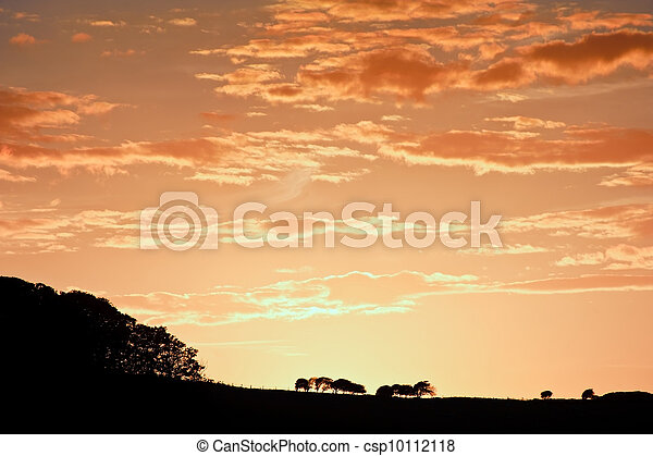 Stunning sunset sky with silhouette landscape horizon - csp10112118