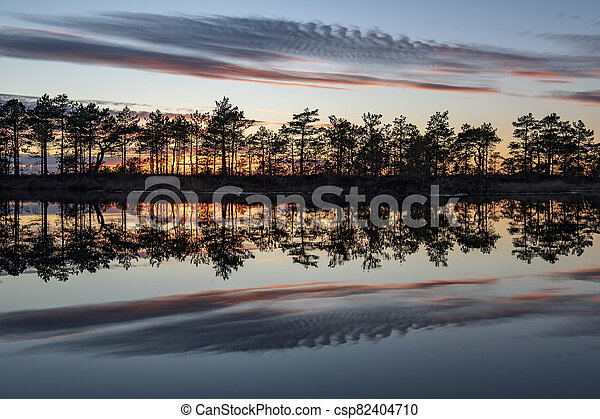 stunningly beautiful view of the evening sky over a forest lake - csp82404710