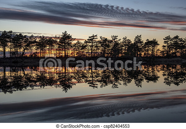 stunningly beautiful view of the evening sky over a forest lake - csp82404553