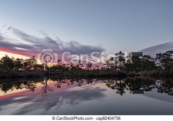 stunningly beautiful view of the evening sky over a forest lake - csp82404736