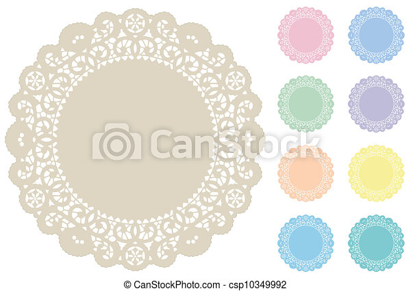 stuoie, pastelli, posto, laccio, doily - csp10349992