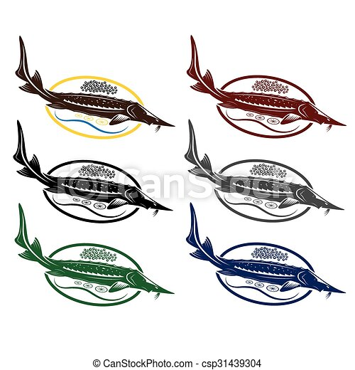 sturgeon fish with caviar and lemon on plate vector clipart search rh canstockphoto com Sturgeon Point Productions Sturgeon Fish Clip Art