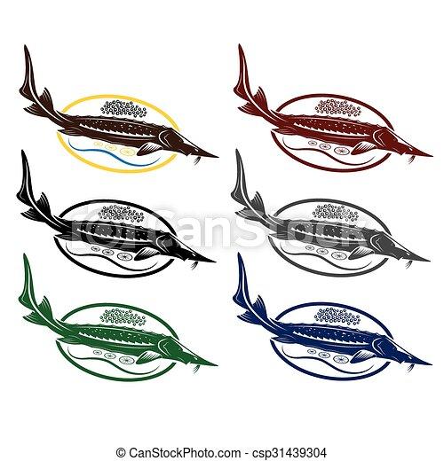 sturgeon fish with caviar and lemon on plate rh canstockphoto com