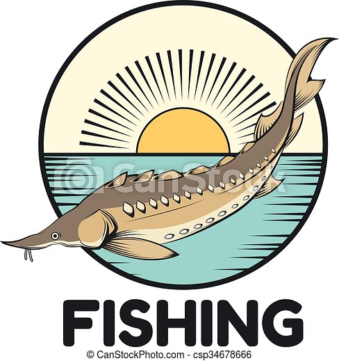 vector image of a sturgeon fishing banner clip art vector search rh canstockphoto com