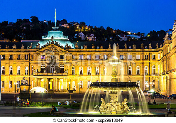 Stuttgart city center, Germany at dusk - csp29913049
