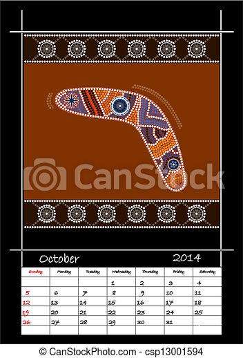 Un calender basado en estilo aborigen - csp13001594
