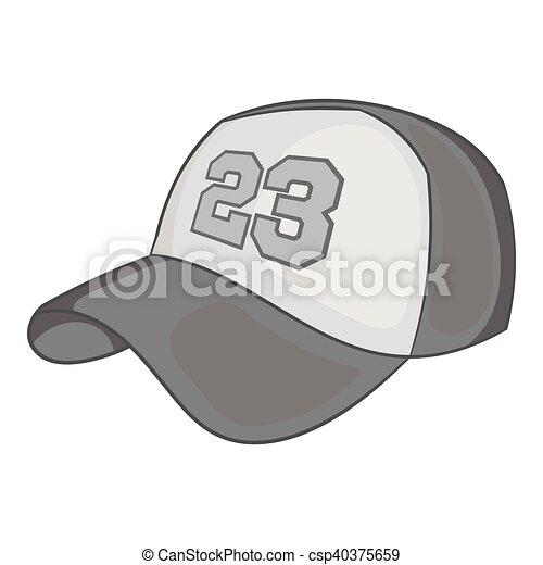 styl, baseballowy biret, czarnoskóry, ikona, monochromia - csp40375659