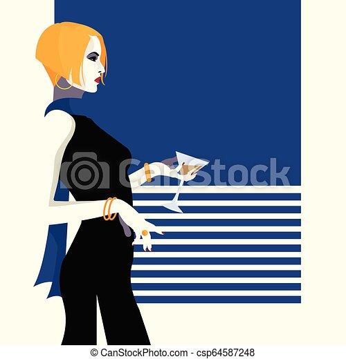 styl, fason, kobieta, ilustracja, wektor, hukiem, art. - csp64587248