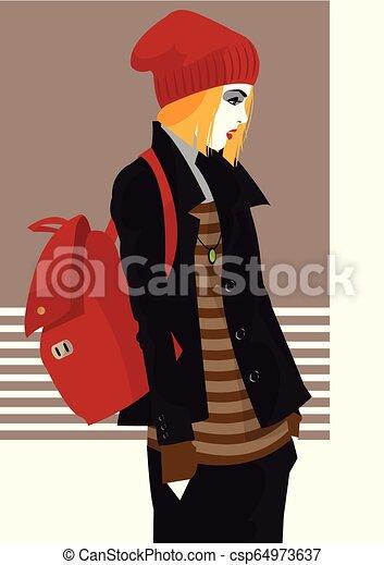 styl, fason, kobieta, ilustracja, wektor, hukiem, art. - csp64973637