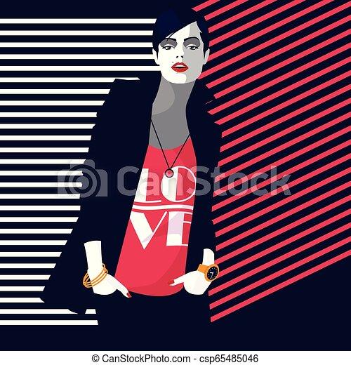 styl, fason, kobieta, ilustracja, wektor, hukiem, art. - csp65485046