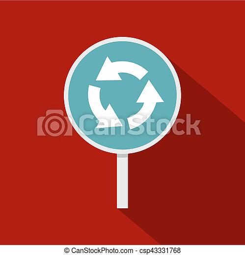 styl, ikona, okrągły, droga znaczą, błękitny, strzały, płaski - csp43331768
