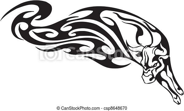 styl, image., plemienny, -, wektor, byk - csp8648670