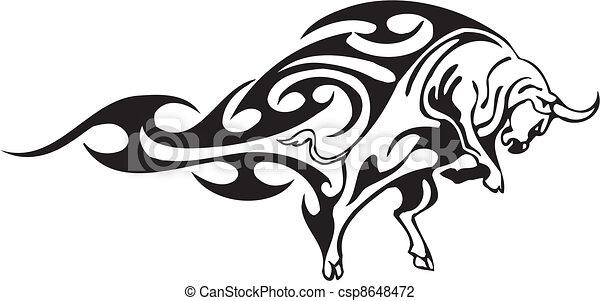 styl, image., plemienny, -, wektor, byk - csp8648472