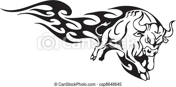 styl, image., plemienny, -, wektor, byk - csp8648645