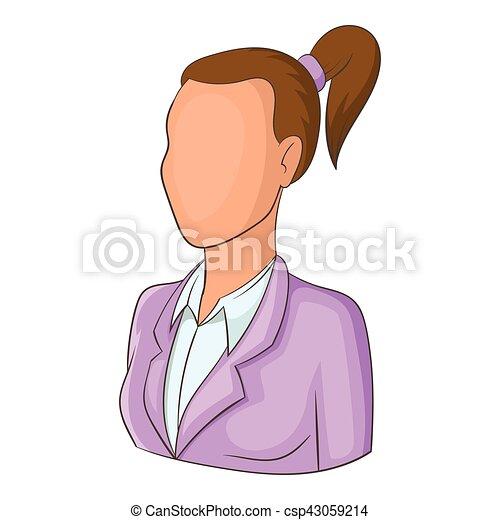 Styl Kobieta Avatar Ikona Rysunek Kucyk Sieć Kobieta