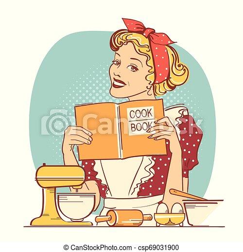 styl, kobieta, jej, room.reto, młody, ilustracja, kolor, książka, dzierżawa wręcza, kok, kuchnia - csp69031900