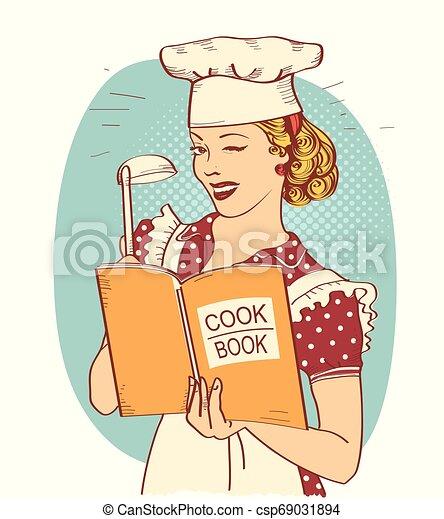 styl, kobieta, jej, room.reto, młody, ilustracja, ręka, mistrz kucharski, książka, dzierżawa, kok, kuchnia - csp69031894