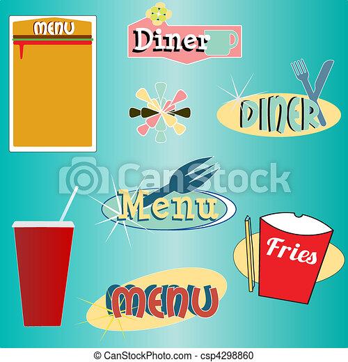 styl, komplet, diner, menu, wektor, retro - csp4298860