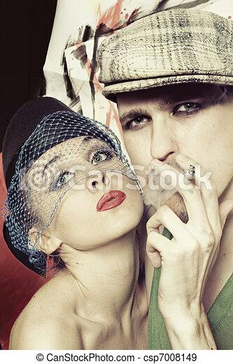styl, mężczyźni, retro, kobiety - csp7008149