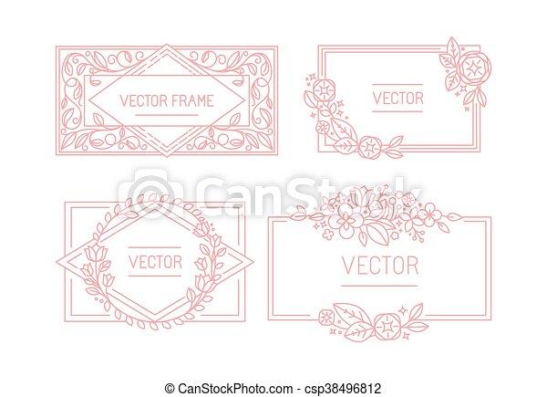 styl, przestrzeń, tekst, ułożyć, kwiatowy, wektor, mono, modny, kreska, kopia - csp38496812