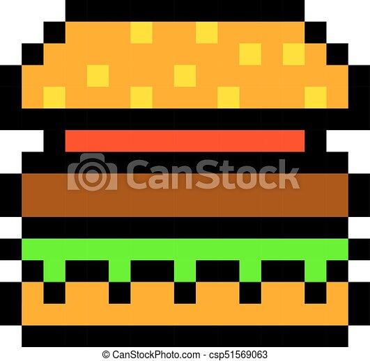 Styl Sztuka Pixel Hamburger Gra Retro Hamburger